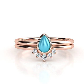 Turquoise ring. Pear shape turquoise and diamond ring. Stack rings. Turquoise and diamond ring. Rose gold ring.