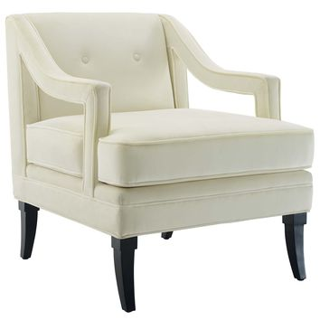 Concur Button Tufted Upholstered Velvet Armchair Ivory EEI-2996-IVO