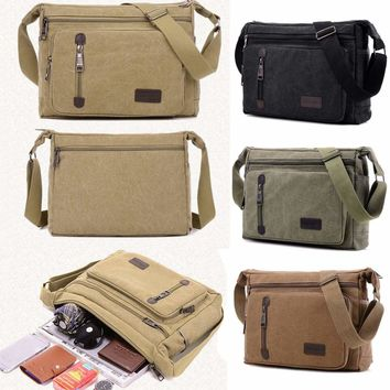 Men's Canvas Messenger Bag Shoulder Sling Crossbody Travel Bags Studenr Satchel