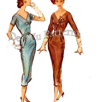 ON SALE McCall's 4391 Vintage 1950s Sheath Dress With Bodice Bow Sewing Pattern Sz 14