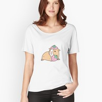 """Pink Guinea Pig and Strawberry Pattern "" Women's Fitted Scoop T-Shirt by Miri-Noristudio 