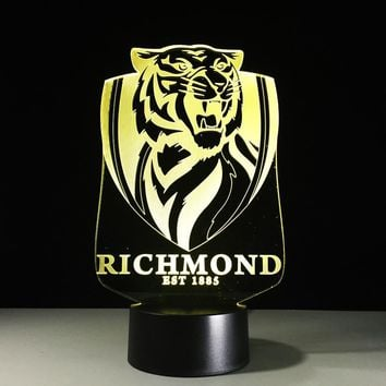 Richmond Tigers Est 1885 Crest 3D LED Night Light Lamp