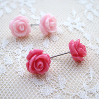 Stud earrings pink flower resin jewelry Light and by JPwithlove