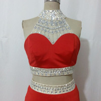 Red Beaded Fit Jersey Halter Two Piece Prom Dress