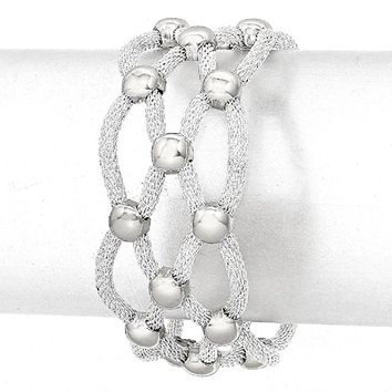 Blogger style Cut out Braided Silver Metal Mesh Wide Magnetic Closure Bracelet Statement