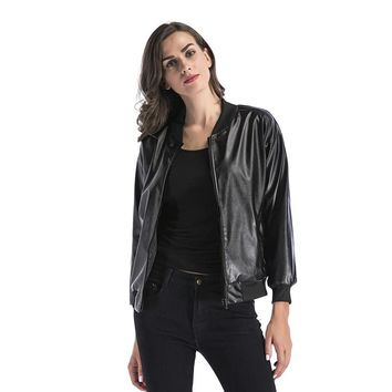 Autumn and winter new women's shirts fashion PU leather jacket coat female Europe and America