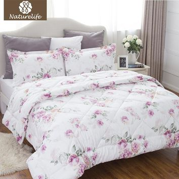 Naturelife Rose Flower Pattern Comforter Duvet Set 3 pcs Western Style Down Alternative Comforter Edredom Futon