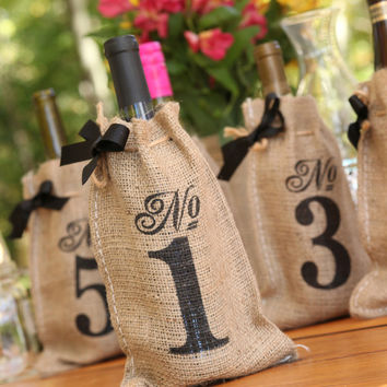 Burlap Table Number Wine Bags - Sets of 10