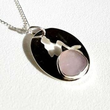 Sea Glass Mermaid Necklace In Amethyst And Sterling Silver