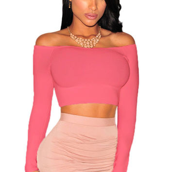 Pink Off-The-Shoulder Knit Crop Top
