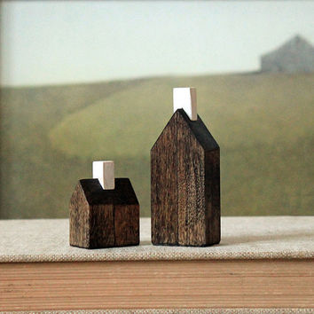 miniature houses solid wood walnut stained minimalist wood town set
