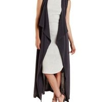 Charcoal Cascade Duster Vest by Charlotte Russe