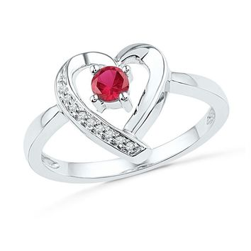 Sterling Silver Women's Round Lab-Created Ruby Solitaire Diamond Heart Ring 1/4 Cttw - FREE Shipping (US/CAN)