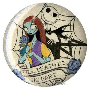 "Licensed cool NEW Disney Nightmare Before Christmas Jack Sally 1 1/4"" Button Pin Lanyard Charm"