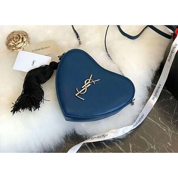 YSL 2018 new letter logo love small bag chain bag shoulder diagonal bag handbag blue