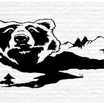 Grizzly Brown Black Bear Man Cave Animal Rustic Cabin Lodge Mountains Hunting Vinyl Wall Art Sticker Decal Graphic Home Decor