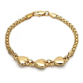 Gold Layered Fancy Bracelet, Heart Design, Golden Tone
