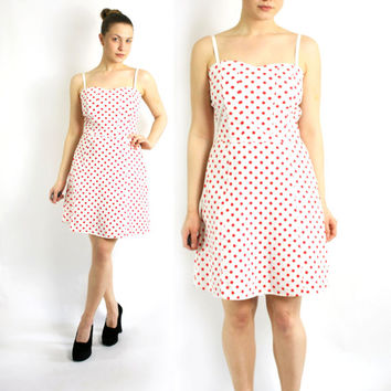 Vintage 80's 90's White Red Polka Dot Dress A-Line Spaghetti Straps - Small to Medium