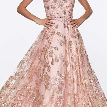 Glitter Floral Ball Gown Rose Gold With Cap Sleeve And Closed Back