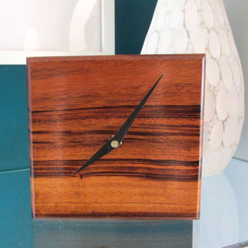 Exotic Desk Clock made with Mora wood from South America | Table Clock | Wood Clock | Minimalist Clock
