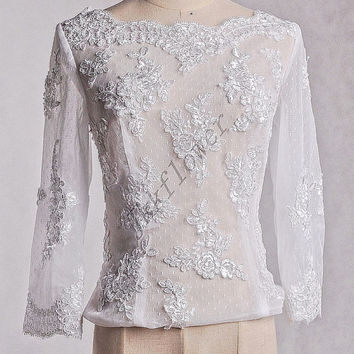 White Full Sleeves Lace Jacket,Bridal Grown ,Custom Made Lace Applique Bridal Wedding Blkero
