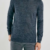 Premium Indigo Linen Mix Crew Neck Sweater - Men's Cardigans & Sweaters - Clothing