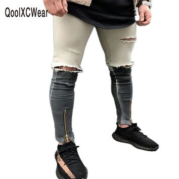 QoolXCWear 2017 Newest Fashion Tie-Dye Hole Destroyed Mens Slim Denim Straight Biker Skinny Jeans Men Ripped Jeans