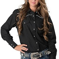 Ely & Walker Company Ladies Longsleeve Black Western Retro Shirt