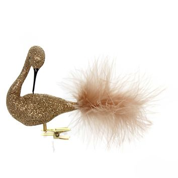 Golden Bell Collection COPPER GLITTERED SWAN Christmas Ornament Clip-On Br468
