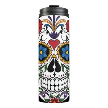 Colorful Sugar Skull Thermal Tumbler