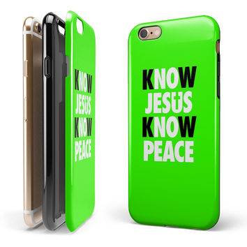 Know Jesus Know Peace - White and Black Over Lime Green 2-Piece Hybrid INK-Fuzed Case for the iPhone 6/6s or 6/6s Plus