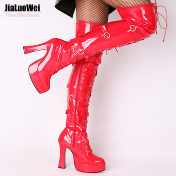Jialuowei Halloween Fashion Sexy Women's 4.5 Inch High Heel Platform Over-the-Knee High Boots hook lace up and side zip Shoes