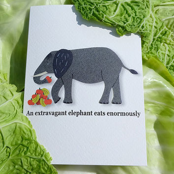 Elephant card, this enormous & extravagant hand-illustrated greeting card features a quirky alliterative phrase