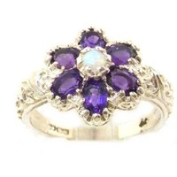 Solid English Sterling Silver Womens Fiery Opal & Amethyst Art Nouveau Flower Ring - Finger Sizes 5 to 12 Available:Amazon:Jewelry