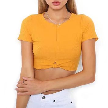 Ribbed Knot Crop Top