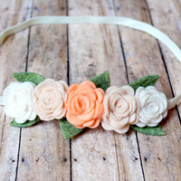 Peach Ombre Felt Rose Flower Crown Headband, Flower Halo, Flower Garland, Felt Headband, Rose Headband, Flower Headband