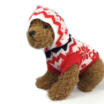 Red Snowflake Knit Dog Sweater
