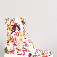 Leatherette Floral Print Lace Up Bootie