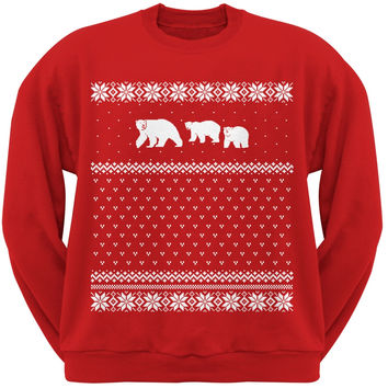 Polar Bears Ugly Christmas Sweater Red Crew Neck Sweatshirt