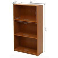 Furinno 99736LC Basic 3-Tier Bookcase Storage Shelves, Light Cherry