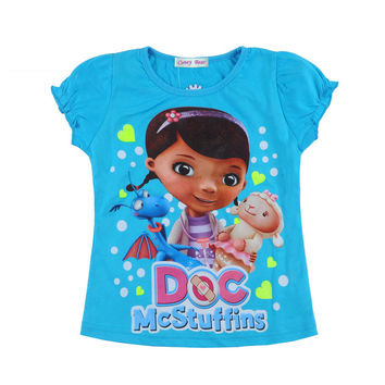New Arrived 100%Cotton Classical Doc Mcstuffins Girl T Shirt Christmas Gift Doc Mcstuffins Clothes T-Shirt For Baby Girls Tees