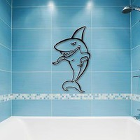 Wall Stickers Vinyl Decal Eats Shark Predator Funny Bathroom Decor Unique Gift (ig788)