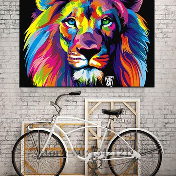 Pop Art Colorful Lion Animals Modern Canvas Art Painting Spary Painted Contemporary Oil Paintings Art Prints Lion Decoration