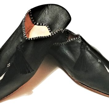Moroccan Babouche Shoes - City Babouche - Berber Black with Tassel