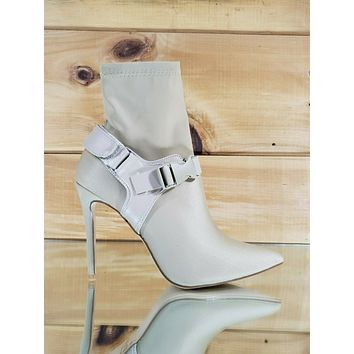 "CR Nude Pull On Stretch Pointy Toe Harness Ankle Boot 4"" High Heels"