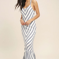 PPLA Delilah Blue and White Striped Maxi Dress