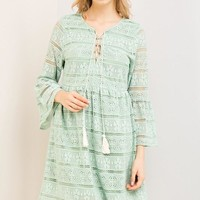 Green Lace Up Babydoll Dress