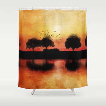 silhouettes in the sunset Shower Curtain by Viviana González
