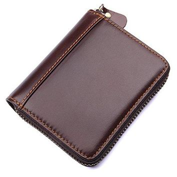 HASFINE RFID Blocking Multi Credit Cards Holder Genuine Leather Compact Accordion Zipper Wallet for Women amp Men