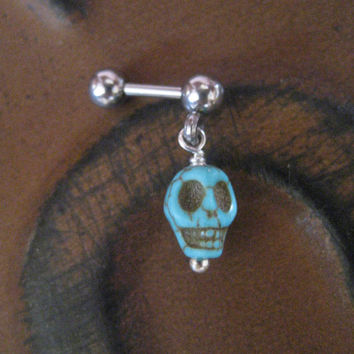 Tiny Turquoise Skull Cartilage Tragus Earring Ear Jewelry Stud Post Barbell Bar 16g 16 G Gauge